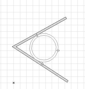 Выбор окружности меньшего диаметра при построении по двум касательным и точке